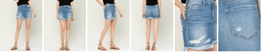 VERVET Women's Distressed Raw Hem Mini Denim Skirt