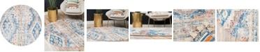 Bridgeport Home Nira Nir2 Blue/Beige 8' x 8' Round Area Rug