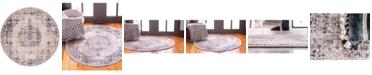 Bridgeport Home Anika Ani1 Tan/Navy 6' x 6' Round Area Rug