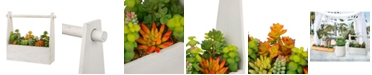 Glitzhome Succulent Plants in Handled Wooden Box