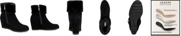 Alfani Women's Step 'N Flex Oreena Faux-Fur-Cuff Wedge Booties, Created for Macy's
