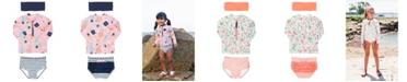 RuffleButts Big Girl's Long Sleeve 2-Piece Rash Guard Bikini with Zipper Swim Headband Set