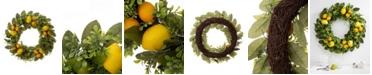 "Glitzhome 22"" D Artificial Greenery Lemon Wreath"