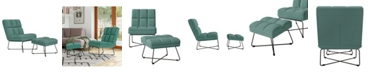 Handy Living Gregor Modern Armless Chair and Ottoman Set