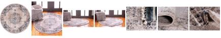 "Bridgeport Home Anika Ani1 Tan/Navy 3' 3"" x 3' 3"" Round Area Rug"