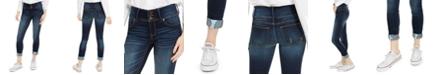 Indigo Rein Juniors' Mid Rise Triple-Button Cuffed Skinny Jeans