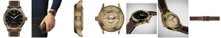 Tissot Men's Swiss Automatic Gent XL Swissmatic Brown Leather Strap Watch 43mm