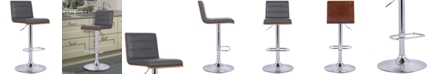 Armen Living Aubrey Barstool Chrome Base finish with Black Faux Leather and Walnut Back