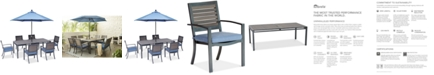 """Furniture Harlough II 7-Pc. Outdoor Dining Set (84"""" x 42"""" Dining Table and 6 Dining Chairs) with Sunbrella® Cushions, Created for Macy's"""