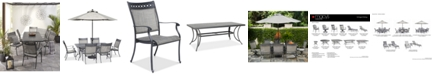 """Furniture Vintage II Outdoor Cast Aluminum 7-Pc. Dining Set (72"""" x 38"""" Table & 6 Sling Dining Chairs), Created for Macy's"""