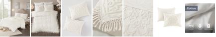 Madison Park Laetitia Full/Queen 3 Piece Cotton Chenille Medallion Fringe Coverlet Set