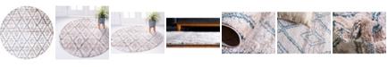 "Bridgeport Home Levia Lev2 Beige/Blue 8' 4"" x 8' 4"" Round Area Rug"