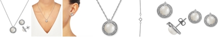 Macy's 2-Pc. Set Cultured Freshwater Pearl (7-1/2 & 8-1/2mm) & Diamond (1/10 ct. t.w.) Halo Pendant Necklace & Matching Drop Earrings in Sterling Silver