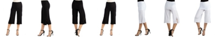 24seven Comfort Apparel Cropped Elastic Straight Pants