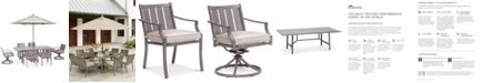 """Furniture Wayland Outdoor Aluminum 7-Pc. Dining Set (84"""" x 42"""" Rectangle Dining Table, 4 Dining Chairs & 2 Swivel Chairs) with Sunbrella® Cushions, Created for Macy's"""