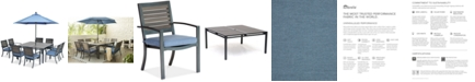 """Furniture Harlough II 9-Pc. Outdoor Dining Set (62"""" Square Dining Table and 8 Dining Chairs) with Sunbrella® Cushions, Created for Macy's"""