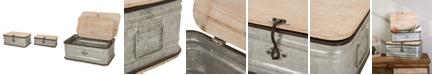 Glitzhome Set of 2 Galvanized Wood Storage Chests