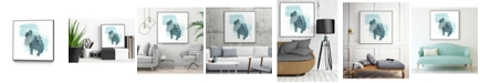 "Giant Art 30"" x 30"" Aqua Stellar I Art Block Framed Canvas"