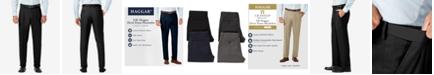 Haggar J.M. Sharkskin Classic-Fit Pleated Hidden Expandable Waistband Dress Pants