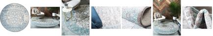 Bridgeport Home Norston Nor3 Blue 6' x 6' Round Area Rug