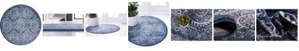 Bridgeport Home Anika Ani3 Navy Blue 6' x 6' Round Area Rug