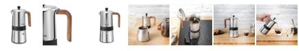 Brim 6 Cup Moka Maker with Wood Finish Handle