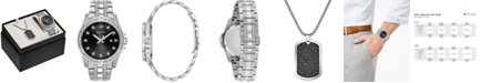 Bulova Men's Stainless Steel Bracelet Watch & Pendant Necklace 42mm Gift Set