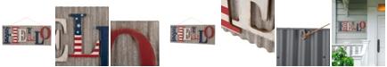 """Glitzhome 36.10""""L Metal-Wooden Patriotic Hello Wall Decor"""
