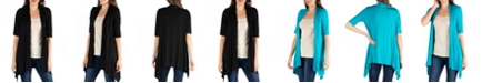 24seven Comfort Apparel Loose Fit Open Front Cardigan with Half Sleeve