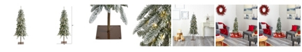 Nearly Natural 4.Flocked Washington Alpine Christmas Artificial Tree with 100 Warm LED Lights and 285 Bendable Branches