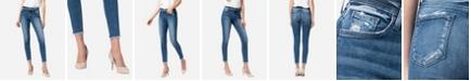 FLYING MONKEY Women's High Rise Raw Hem Skinny Ankle Jeans