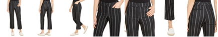 Charter Club Striped Cropped Tummy Control Pants, Created for Macy's