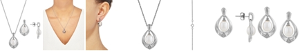 """Macy's 2-Pc. Set Cultured Freshwater Pearl (7 & 8mm) & Diamond (1/20 ct. t.w.) 18"""" Pendant Necklace & Matching Drop Earrings in Sterling Silver"""