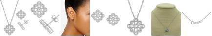 Macy's 2-Pc. Set Diamond Flower Pendant Necklace & Matching Stud Earrings (1/6 ct. t.w.) in Sterling Silver