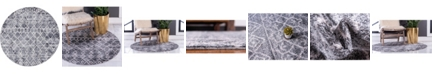 "Bridgeport Home Levia Lev1 Dark Gray 4' 7"" x 4' 7"" Round Area Rug"