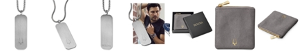 "Bulova Men's Tuning Fork Logo Dog Tag Pendant Necklace in Stainless Steel, 26"" + 2"" Extender"