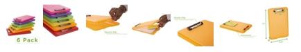 Mind Reader 6 Pack Clipboard Storage, Translucent Assorted Colors