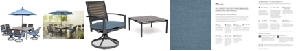 """Furniture Harlough II 9-Pc. Outdoor Dining Set (62"""" Square Dining Table and 8 Swivel Rockers) with Sunbrella® Cushions, Created for Macy's"""
