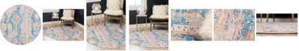 Bridgeport Home Nira Nir1 Blue 5' x 5' Round Area Rug