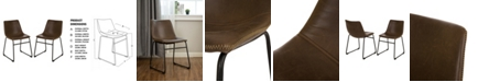 Glitzhome Mid-Century Modern Leatherette Dining Chair Set of 2