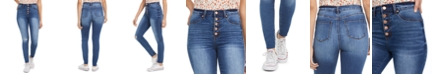 Celebrity Pink Juniors' Curvy High Rise Ripped Button-Fly Skinny Jeans