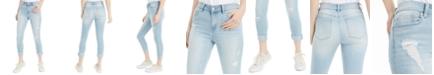 Indigo Rein Juniors' Ripped Roll-Cuff Skinny Jeans