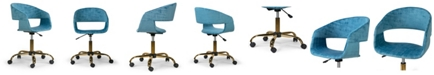 Glamour Home Amani Velvet Office Chair with Metal Base