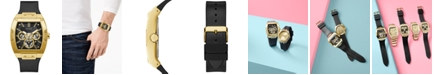 GUESS Men's Black Leather & Silicone Flex Strap Watch 43mm