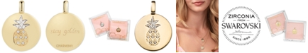 "CHARMBAR Swarovski Zirconia Pineapple ""Stay Golden"" Reversible Charm Pendant in 14k Gold-Plated Sterling Silver"