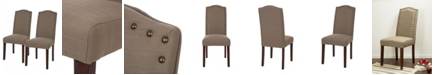 Glitzhome Tan Fabric Dining Chair with Studded Decoration Set of 2