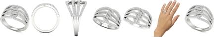 Macy's Diamond Multi-Row Openwork Statement Ring (5/8 ct. t.w.) in 10k White Gold
