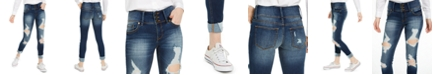 Indigo Rein Juniors' Mid-Rise Triple-Button Ripped Skinny Jeans