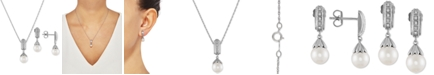 """Macy's 2-Pc. Set Cultured Freshwater Pearl (7 & 8mm) & Diamond (1/20 ct. t.w.) 18"""" Pendant Necklace and Matching Drop Earrings in Sterling Silver"""