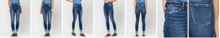 FLYING MONKEY Women's Mid Rise 3D Whiskers Released Fray Hem Skinny with Cuff Jeans